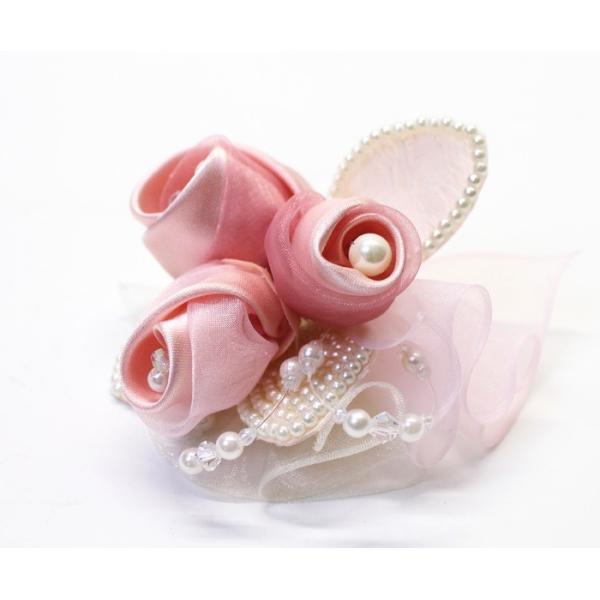 セール 3輪バラとパールのフォーマルコサージュ(ピンク) 入学式 卒業式 結婚式 におすすめ