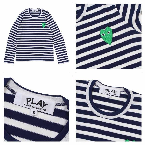 プレイ コムデギャルソン PLAY COMME des GARCONS Tシャツ 長袖 レディース HEART LS T-SHIRT ボーダー カットソー AZ-T051 ホワイト 11/3 追加入荷|sugaronlineshop|03