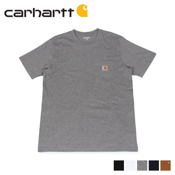 carhartt カーハート  Tシャツ メンズ 半袖 無地 SS POCKET T-SHIRT ブラック ホワイト ダーク グレー ダーク ネイビー ブラウン 黒 白 I022091 11/7 新入荷|sugaronlineshop