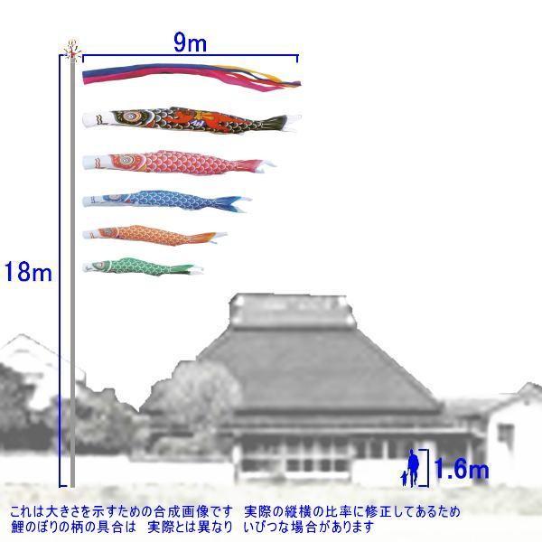 鯉のぼり キング印鯉 1121890 ノーマルセット ナイロン 9m5匹 金太郎 五色吹流し 139730344|suiho|02