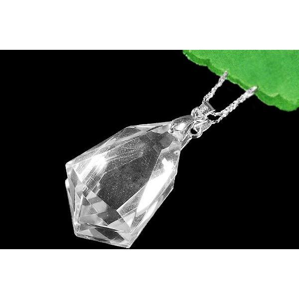 クリスタル・水晶ネックレス・大粒・AAAAグレード(4A)・SV925チェーン付【良質天然石水蓮】