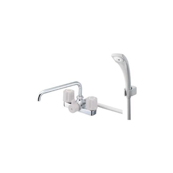 サンエイ(三栄水栓)ツーバルブデッキシャワー混合栓湯水取付芯ピッチ120ミリSK710-LH