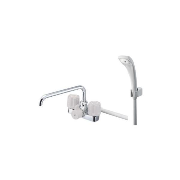 サンエイ(三栄水栓)ツーバルブデッキシャワー混合栓湯水取付芯ピッチ102ミリSK71-LH