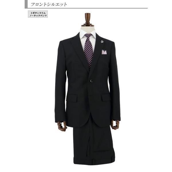 スーツメンズ スリム ビジネス黒 シャドー ストライプ 2019 新作 秋冬 スラックスウォッシャブル 2JSC32-20|suit-depot|07