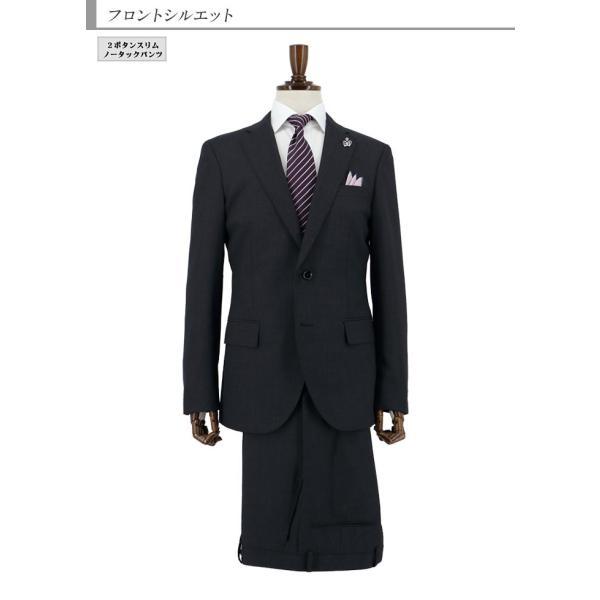 スーツメンズ スリム ビジネスグレー シャドー ストライプ 2019 新作 秋冬 スラックスウォッシャブル 2JSC32-23 suit-depot 07