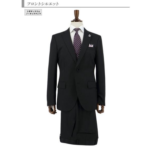 スーツ メンズ スリムスーツ ビジネススーツ 黒 オルタネイト ストライプ 2019 新作 秋冬 スラックスウォッシャブル 2JSC33-20 suit-depot 07