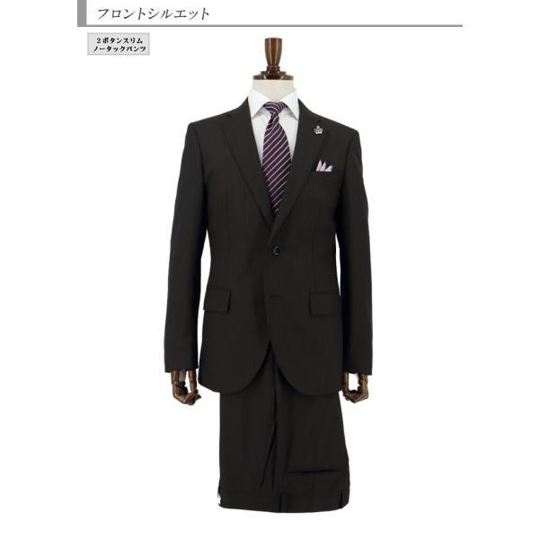 スーツメンズ スリム ビジネス茶 ストライプ 2019 新作 秋冬 スラックスウォッシャブル 2JSC34-25 suit-depot 07