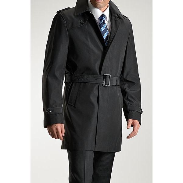 ビジネスコート ボンディング素材 シングルトレンチコート メンズ 撥水加工 スーツコート ブラック suit-style 12