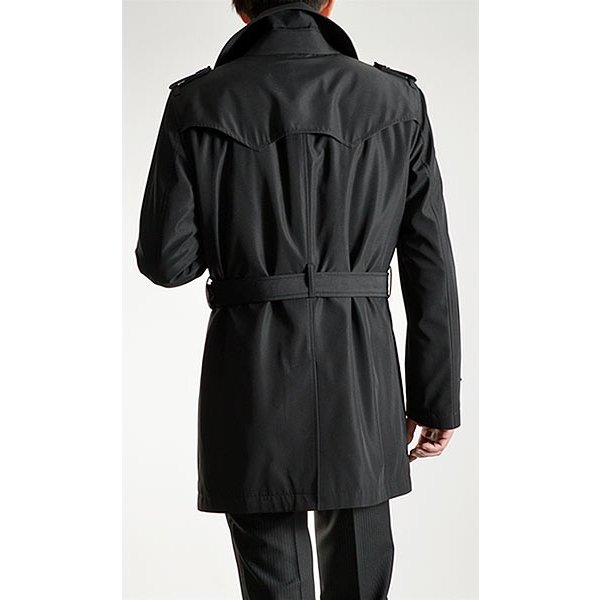 ビジネスコート ボンディング素材 シングルトレンチコート メンズ 撥水加工 スーツコート ブラック suit-style 13