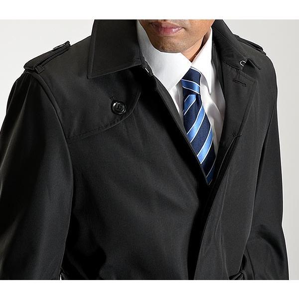 ビジネスコート ボンディング素材 シングルトレンチコート メンズ 撥水加工 スーツコート ブラック suit-style 14