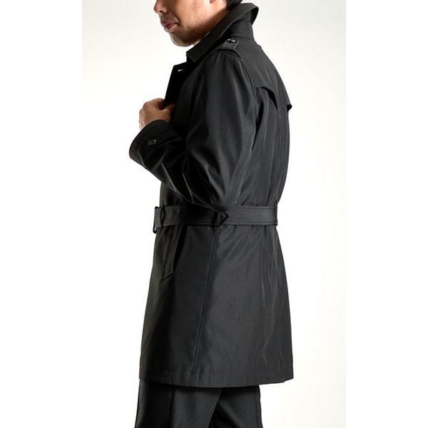 ビジネスコート ボンディング素材 シングルトレンチコート メンズ 撥水加工 スーツコート ブラック suit-style 16