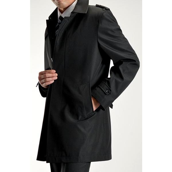 ビジネスコート ボンディング素材 シングルトレンチコート メンズ 撥水加工 スーツコート ブラック suit-style 17