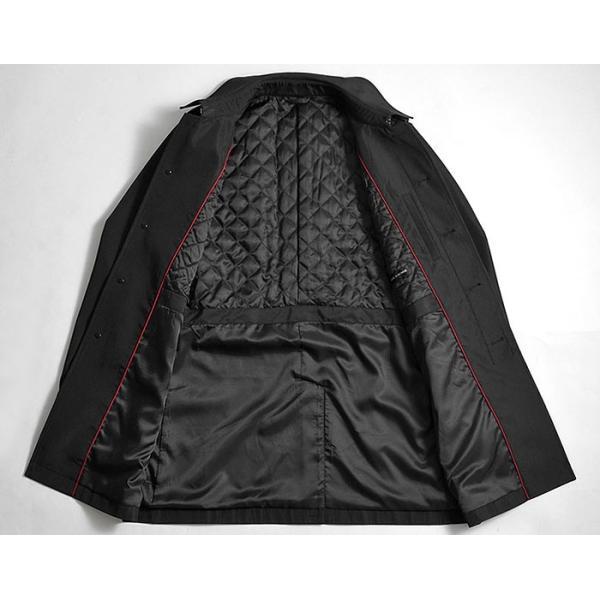 ビジネスコート ボンディング素材 シングルトレンチコート メンズ 撥水加工 スーツコート ブラック suit-style 19