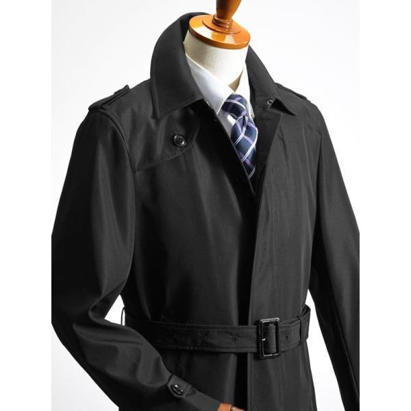 ビジネスコート ボンディング素材 シングルトレンチコート メンズ 撥水加工 スーツコート ブラック suit-style 09