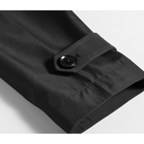 ビジネスコート ボンディング素材 シングルトレンチコート メンズ 撥水加工 スーツコート ブラック suit-style 10