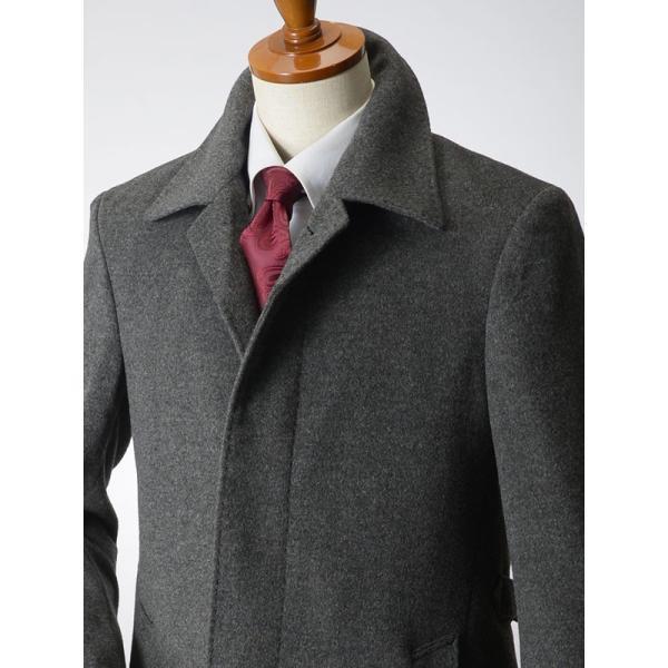 カシミヤ混ウール素材 シングルステンカラーコート ビジネス ブラック 黒 グレー 灰色 メンズ コート【送料無料】|suit-style|16