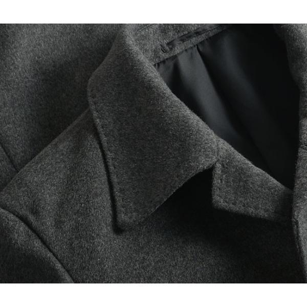 カシミヤ混ウール素材 シングルステンカラーコート ビジネス ブラック 黒 グレー 灰色 メンズ コート【送料無料】|suit-style|17