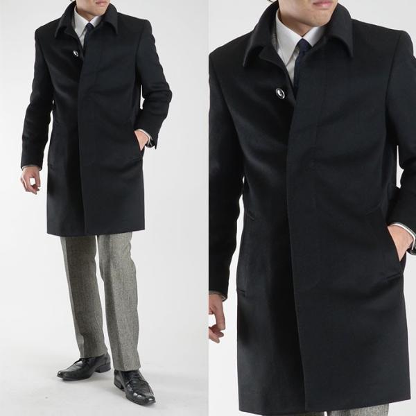 カシミヤ混ウール素材 シングルステンカラーコート ビジネス ブラック 黒 グレー 灰色 メンズ コート【送料無料】|suit-style|19