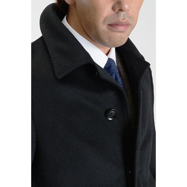 カシミヤ混ウール素材 シングルステンカラーコート ビジネス ブラック 黒 グレー 灰色 メンズ コート【送料無料】|suit-style|20