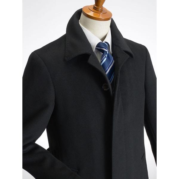 カシミヤ混ウール素材 シングルステンカラーコート ビジネス ブラック 黒 グレー 灰色 メンズ コート【送料無料】|suit-style|10