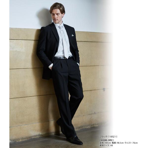 フォーマルスーツ 礼服 メンズ 2ツ釦 濃染加工 深みブラック セレモニー 結婚式 冠婚葬祭 黒 喪服 シングル ブラックフォーマル|suit-style|02