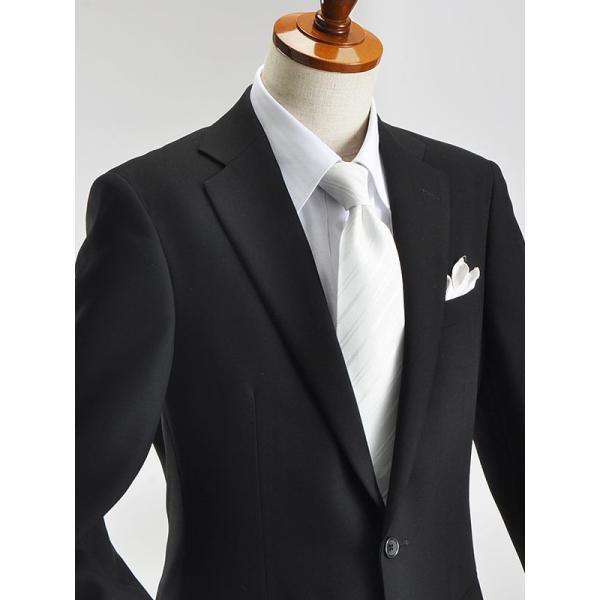 礼服 メンズ フォーマルスーツ シングル SUPER100's 2ツボタン 細身 セレモニー 冠婚葬祭 アジャスター付 ブラック  喪服 ブラックフォーマル|suit-style|05