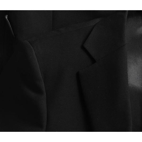 礼服 メンズ フォーマルスーツ シングル SUPER100's 2ツボタン 細身 セレモニー 冠婚葬祭 アジャスター付 ブラック  喪服 ブラックフォーマル|suit-style|06