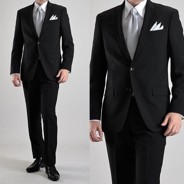 フォーマルスーツ 礼服 メンズ 2ツボタン 結婚式 アジャスター付 ブラック 黒 スリムスーツ ブラックフォーマル 激安 suit|suit-style|06
