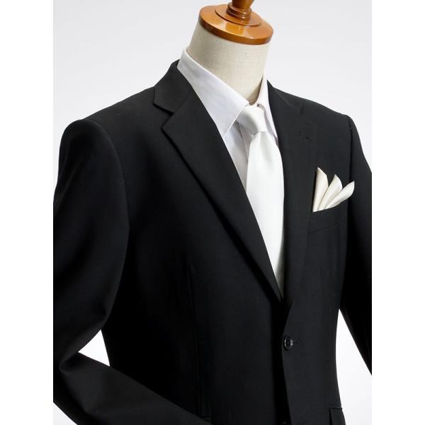 フォーマルスーツ メンズ 礼服 シングル ブラックスーツ ブラックフォーマル ウール100% 細身 結婚式 冠婚葬祭 アジャスター付 ブラック|suit-style|02