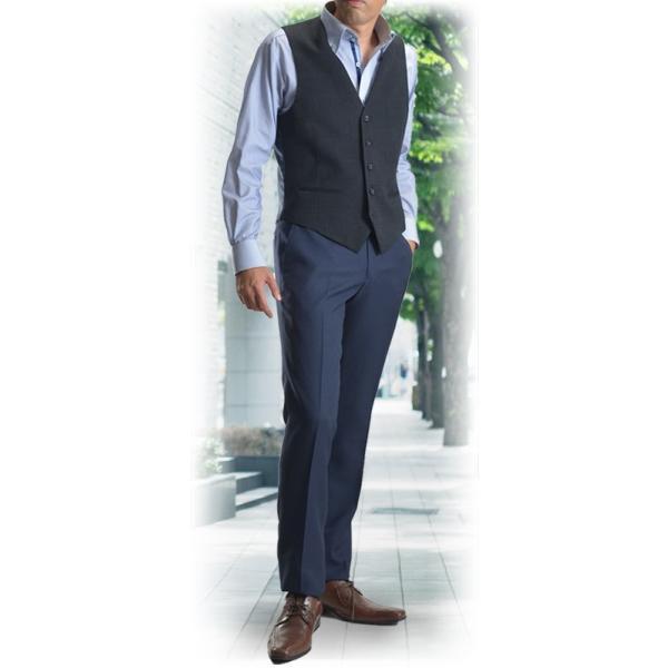スラックス ウォッシャブル ノータック テーパードスリムスラックス ローライズ メンズ スタイリッシュ ポリエステル|suit-style|14