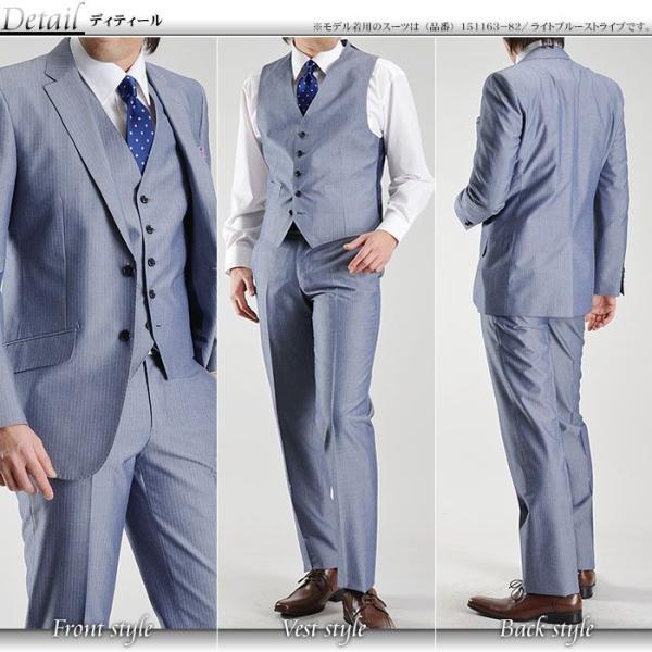 イタリア素材 スリーピーススーツ モヘア混コットン素材 2ツボタン メンズスーツ MARZOTTO ベスト付き ビジネススーツ 春夏|suit-style|04