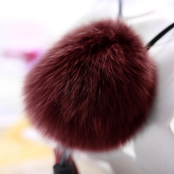 Merdia レディース レザーチェーン ネックレス 長いタッセルセーターネックレス 赤い ふわふわのボール