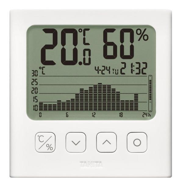 グラフ付きデジタル温湿度計 ホワイト TT-580-WH TANITA (D)
