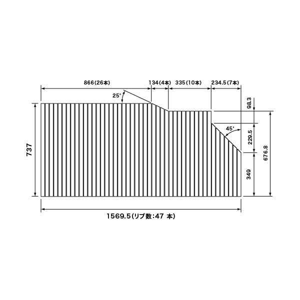 パナソニック 風呂フタ 巻きフタ(フック無) サイズ 1570×737 変形型