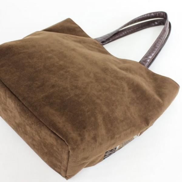 和雑貨 大島紬 手提げバッグ 横つなぎ 時代布 ポーチ付 茶 bag5919