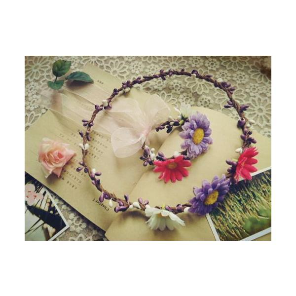 花冠、ウエディング 花冠、花かんむり、ヘアアクセサリー、 結婚式、ウエディング、ヘッドアクセ、ヘッドドレス、花輪、パーティ sp422-5