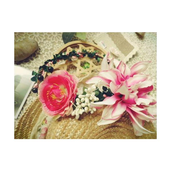 花冠、ウエディング 花冠、花かんむり、ヘアアクセサリー、 結婚式、ウエディング、ヘッドアクセ、ヘッドドレス、花輪、パーティ sp424