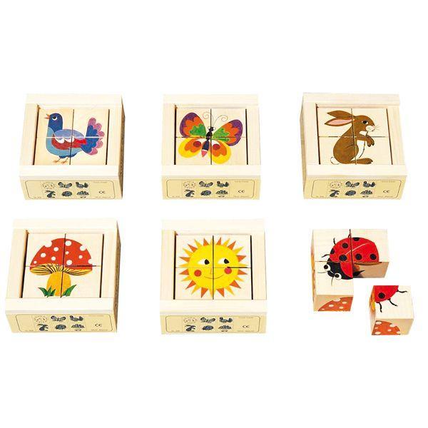 アトリエフィッシャー 六面体パズル・4pcs・ナチュラル AF408 知育玩具|sun-wa