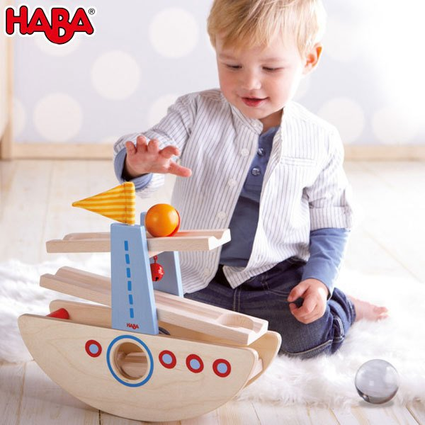 木のおもちゃ はじめてのクーゲルバーン・シップ ハバ HA6643(知育玩具、ベビー用積み木、ブロック) sun-wa