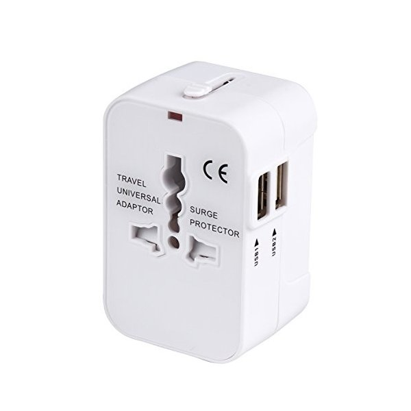 海外安全旅行充電器 コンパクトな コンセント 2USBポート変換プラグ 電源プラグ 旅行アダプター 壁の充電器 NONNBIRI(ホワイト) sun4store