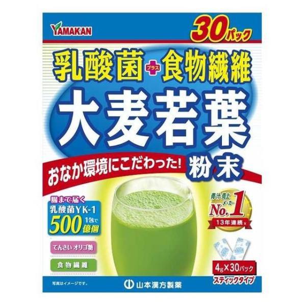 ◆山本漢方 お徳用 乳酸菌大麦若葉粉末 4GX30包