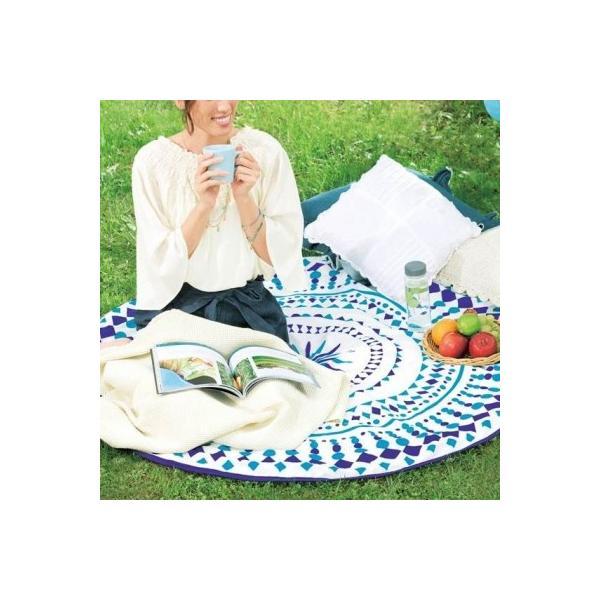【サークルタオル1枚入り】 SNS 敷物 日 ベッドカバー ソファカバー 幾何学模様 おしゃれ ブルー 涼しげ アウトドア ビーチ|sunfield-silica