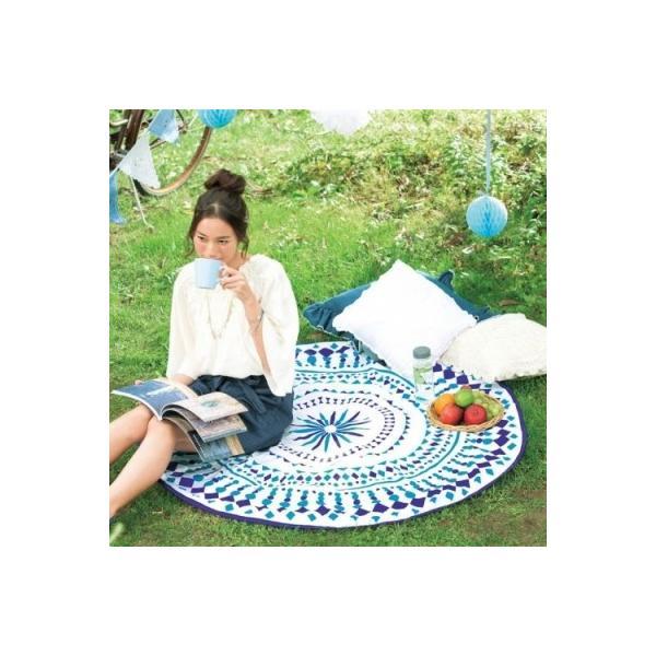 【サークルタオル1枚入り】 SNS 敷物 日 ベッドカバー ソファカバー 幾何学模様 おしゃれ ブルー 涼しげ アウトドア ビーチ|sunfield-silica|02