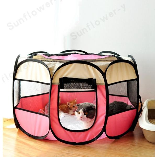 ペットハウス ペットテント ペットケージ 犬 猫 八面メッシュサークル 折りたたみ式 室内   室外|sunflower-y|08