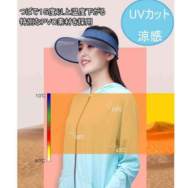 サンバイザー つば広帽子 UVカット帽子 日焼け止め対策 おしゃれな夏帽子 自転車通勤 通学 通勤 ゴルフ|sunflower-y|04