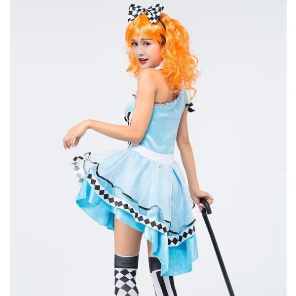 コスプレ ハロウィン ワンピース メイド衣装 ブルー コスチューム 大人用 衣装 仮装 女の子 ハロウィン コスプレ チエック柄 コスチューム|sunflowerhouse|11