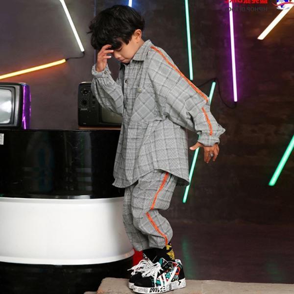 キッズダンス衣装 ヒップホップ HIPHOP チェック チェックシャツ  チェックパンツ ズボン 子供  男の子  女の子 練習着 ジャズダンス ステージ衣装 sunflowerhouse 02