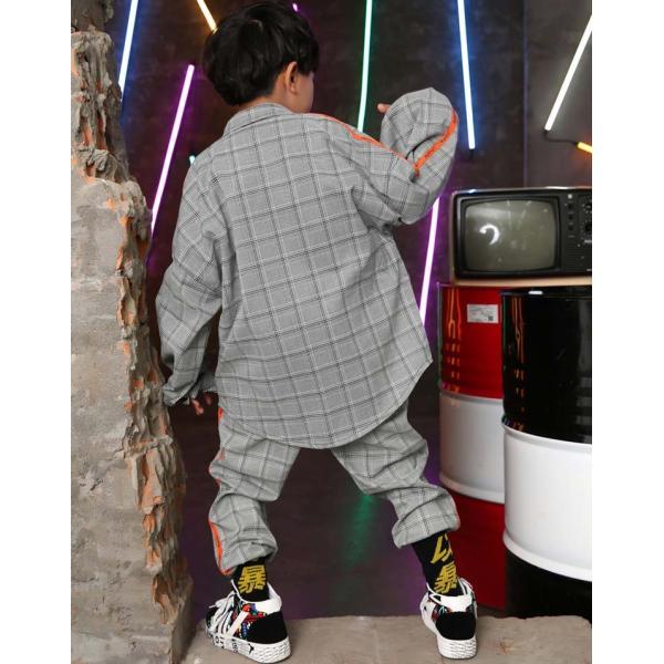 キッズダンス衣装 ヒップホップ HIPHOP チェック チェックシャツ  チェックパンツ ズボン 子供  男の子  女の子 練習着 ジャズダンス ステージ衣装 sunflowerhouse 04