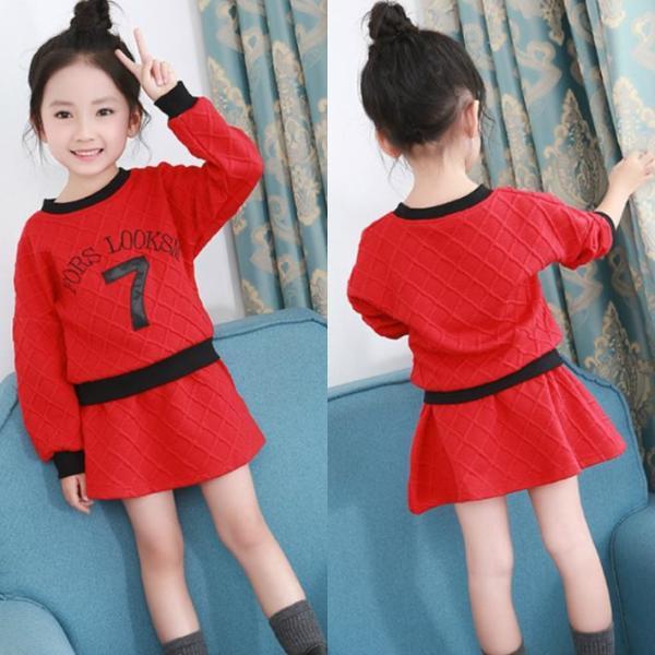 e27cb25158573 子ども服 スカートセット 女の子 キッズ セット服 長袖Tシャツ 赤 グレー 韓国風子供 ...