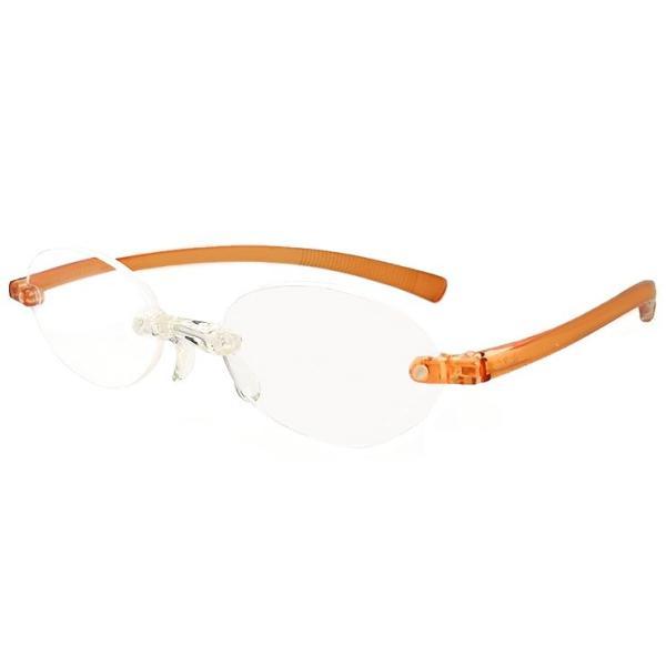 老眼鏡 超軽量フレーム シニアグラス オレンジ レディース ツーポイント ソフト老眼鏡 オーバル型 女性用 リーディンググラス 人気 母の日 敬老の日 プレゼント
